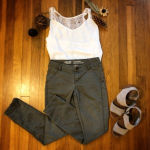 Army green skinny pants